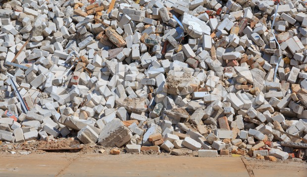 Pile of construction debris Stock Photo