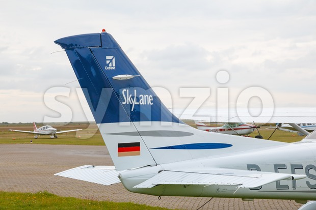 Cessna 182 Skylane parked at the airport Stock Photo