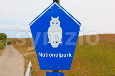 Sign of National park on the island of Borkum, Germany Stock Photo