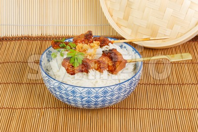On charcoal grilled satay  with rice Stock Photo