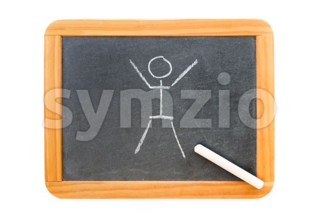 Childlike drawn stickman on a blackboard