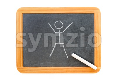 Stickman drawn on a blackboard Stock Photo