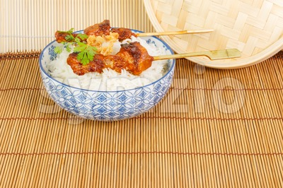 Satay  with rice Stock Photo