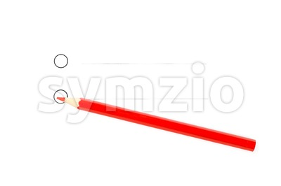 Red pencil with two unticked round checkboxes Stock Photo