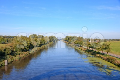 The straight Dutch 'Van Starkenborghkanaal' canal Stock Photo