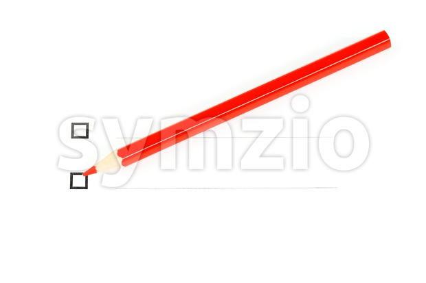 Red pencil with two unticked checkboxes Stock Photo