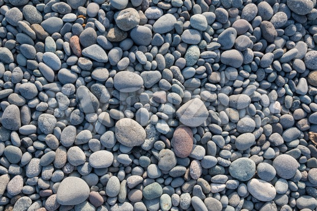 Top view of rounded pebbles Stock Photo