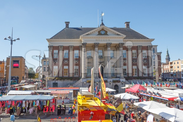 City Hall and local goods market on the Grote Markt in Groningen