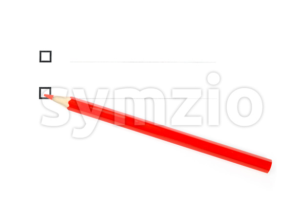 Red pencil diagonally under two unticked checkboxes Stock Photo