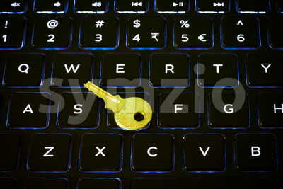 Key on a computer keyboard Stock Photo