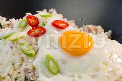 Indonesian Nasi Goreng with a fried egg Stock Photo